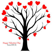 Valentine Tree with Love Heart, Vector Illustration EPS 10. — Cтоковый вектор