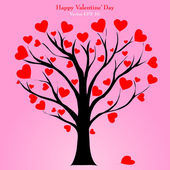 Valentine Tree with Love Heart, Vector Illustration EPS 10. — 图库矢量图片
