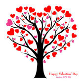 Valentine Tree with Love Heart, Vector Illustration EPS 10. — Stockvektor