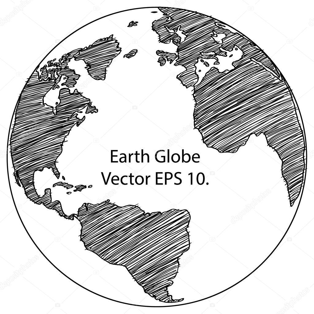 世界地图地球全球矢量线描绘了插画家