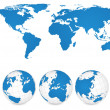 World Map and Globe Detail Vector Illustration, EPS 10. — Vecteur