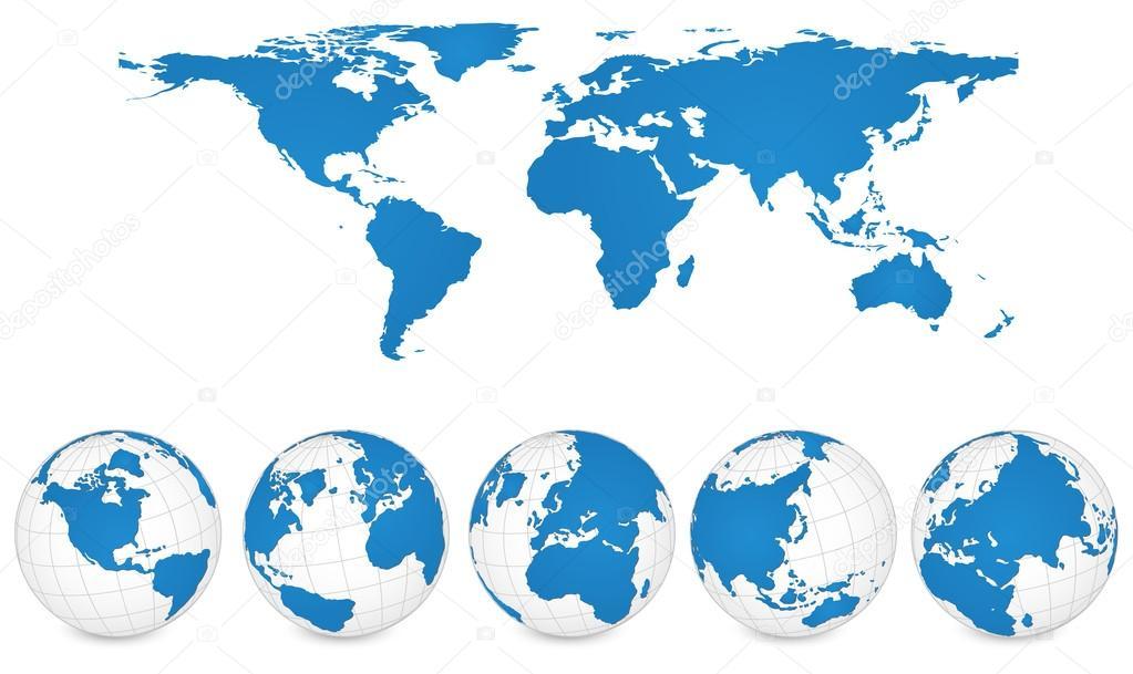 世界地图和地球仪详细矢量插图