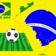 Brazil 2014 with Map, Flag, Soccer field and Soccerball, Vector Illustration EPS 10. — Stok Vektör