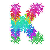 Colourful leaf alphabet character. — Foto de Stock