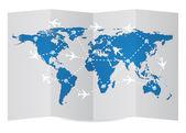 Airplane, Air Craft Shipping Around World — Stockvector