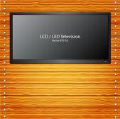 LED TV on the wood wall — ストックベクタ