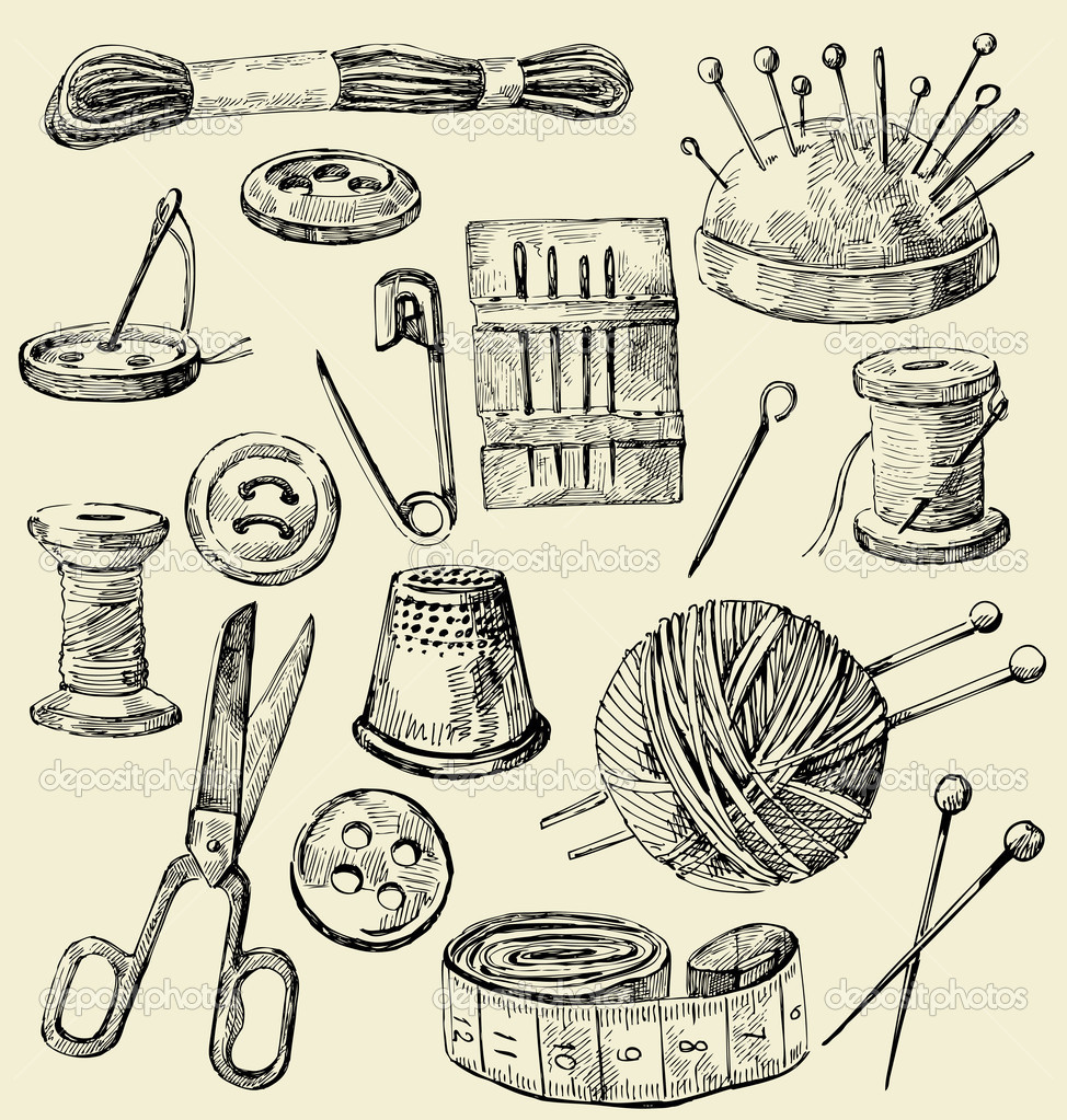 Vintage Knitting Clipart : Vector sewing equipment — stock bioraven