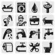Vector de stock : Bathroom icons
