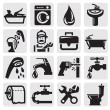 Bathroom icons — Vector de stock
