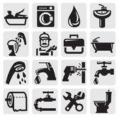 Iconos de baño — Vector de stock