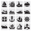 Boat and ship icons set — Stockvectorbeeld