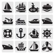 Stock Vector: Boat and ship icons set