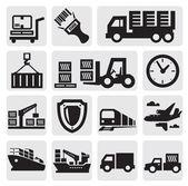 Conjunto de iconos logística y transporte — Vector de stock