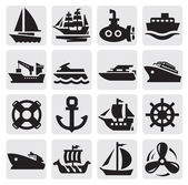 Boot en schip icons set — Stockvector