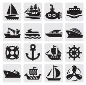 Boot en schip icons set — Stockvector