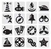 Nautical icons — Stok Vektör