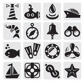 Nautical icons — Stock Vector