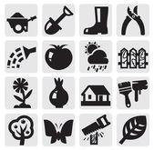 Gardening icons — Stock Vector