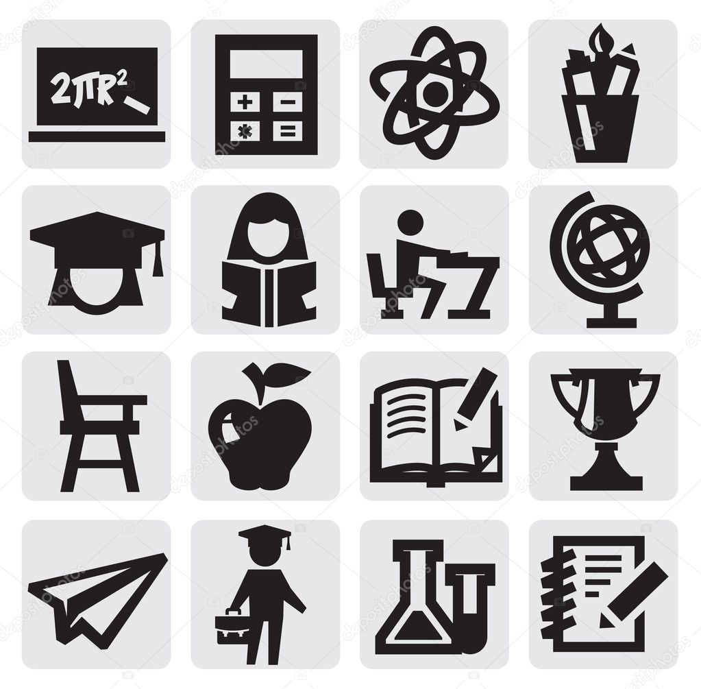 Education Icons Vector Free Download Vector Black Education Icons