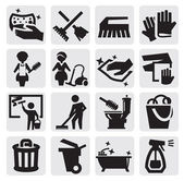 Cleaning icons — Stok Vektör