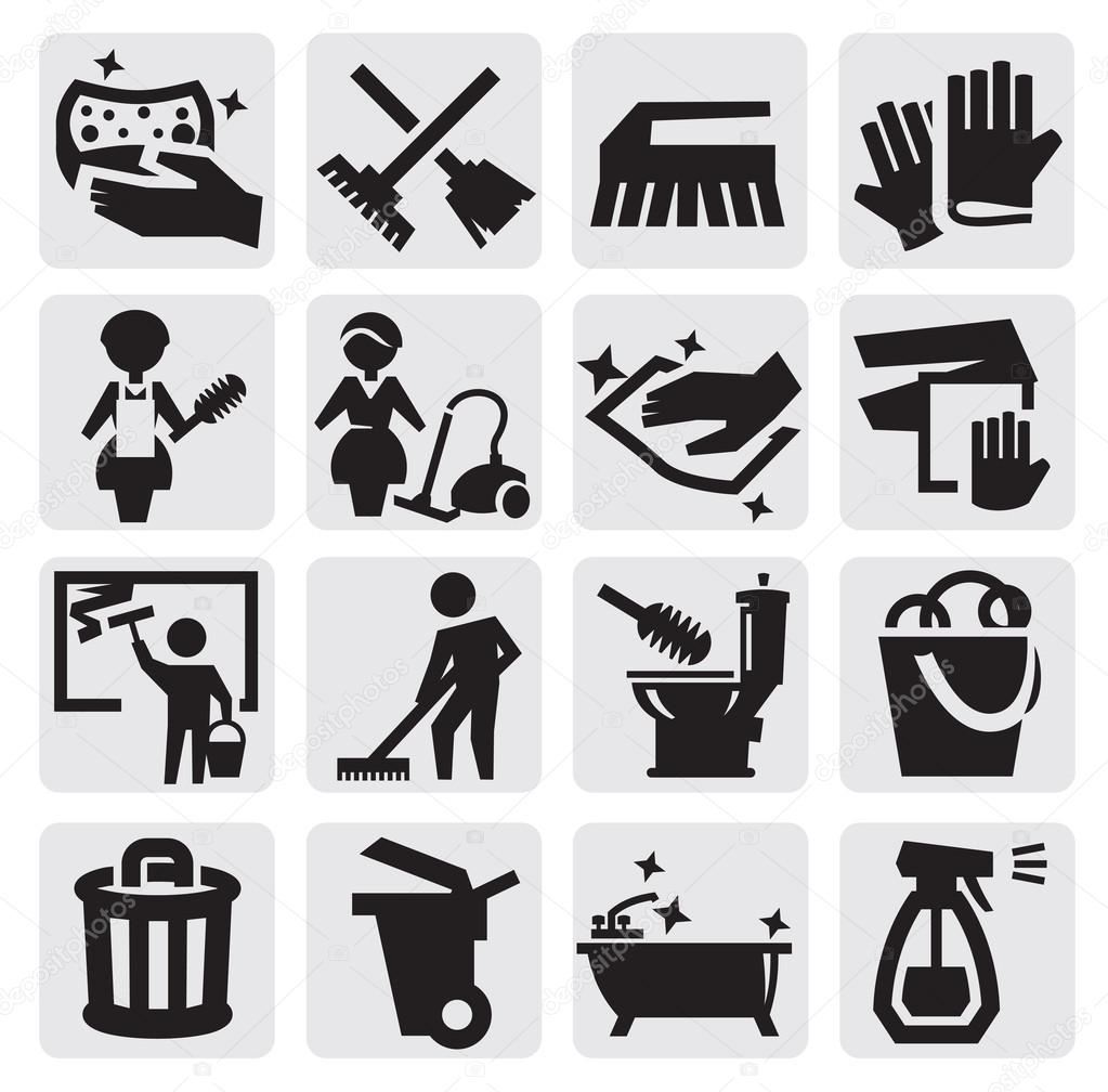 Cleaning Icons Stock Vector 169 Bioraven 13268062