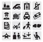 Luchthaven pictogrammen — Stockvector