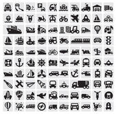 Big transportation icons — Stock Vector