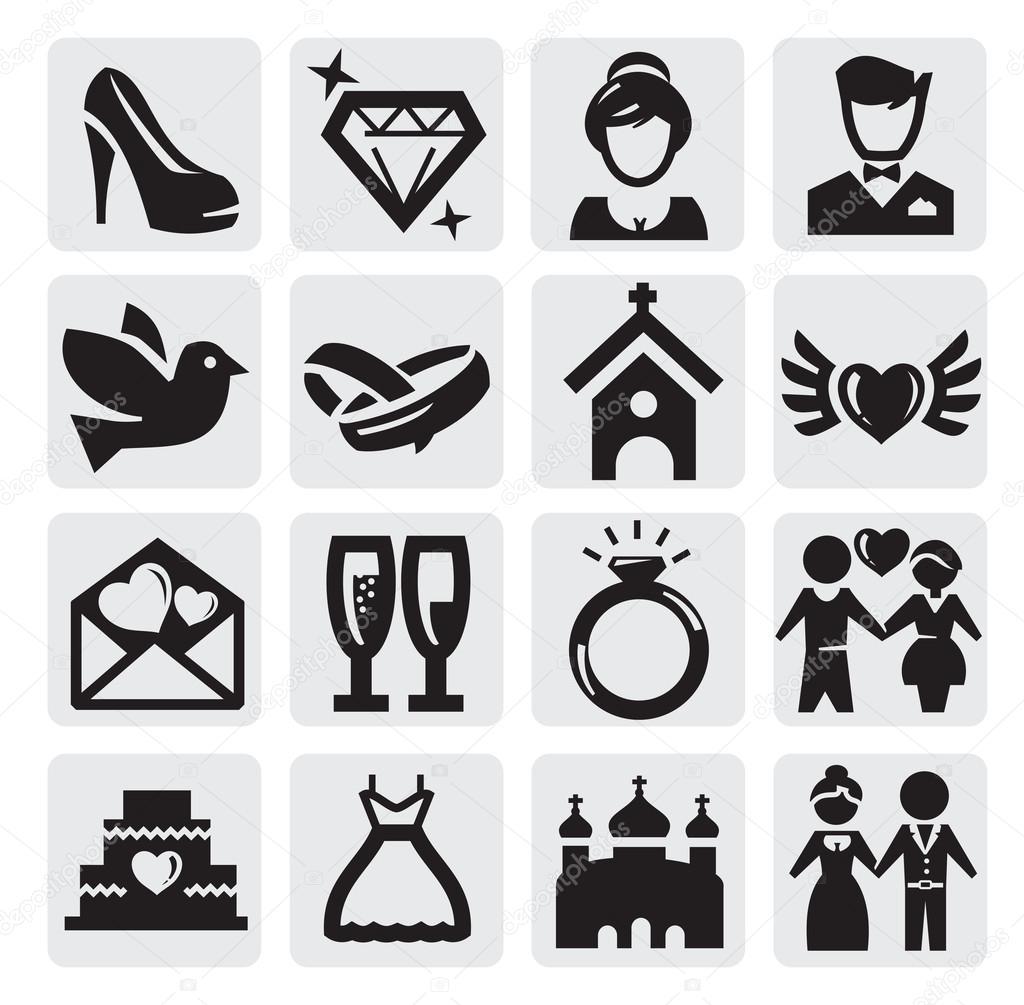 Ícones de casamento — Vetor de Stock © bioraven #13443308: pt.depositphotos.com/13443308/stock-illustration-wedding-icons.html
