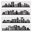 Cities silhouette icon — Stock Vector