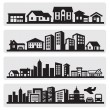 Cities silhouette icon - Stock Vector