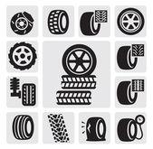 Iconos del neumático — Vector de stock