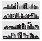 Icône de silhouette de villes — Vecteur