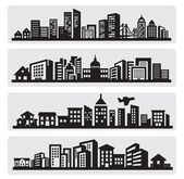 Städer silhuett ikonen — Stockvektor