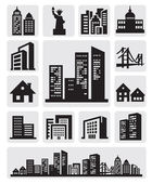 Cities silhouette icon — Stok Vektör