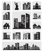 ícone de silhueta de cidades — Vetorial Stock