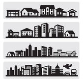Cities silhouette icon — Vector de stock