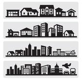 şehirler siluet simge — Stok Vektör
