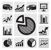 Pictogrammen bedrijfs van de grafiek — Stockvector