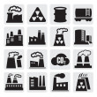 Factory icons set - Stock Vector