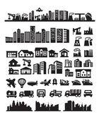 Stora staden ikoner — Stockvektor