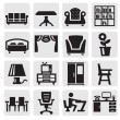 Furniture and home icons - Stockvektor