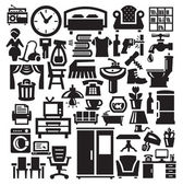 Home furniture and appliances icons — Stock Vector
