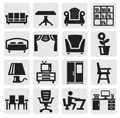 Furniture and home icons — Stok Vektör