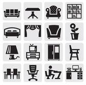 Iconos de muebles y hogar — Vector de stock
