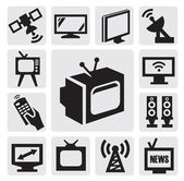 TV icons set — Stock Vector