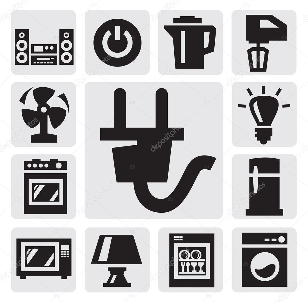 haushaltsger te symbol stockvektor bioraven 13612254. Black Bedroom Furniture Sets. Home Design Ideas