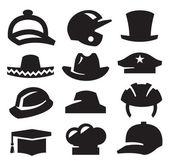 Icone di cappello — Vettoriale Stock