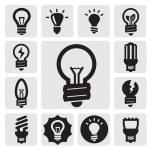 iconos de bulbos — Vector de stock