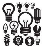 Icone di lampadine — Vettoriale Stock
