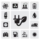 Icone di energia eco — Vettoriale Stock